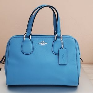 Coach Blue Pebbled Leather Small Satchel